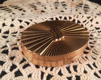 Vintage Goldtone EVANS Oval with RIbbon Design Make Up/Compact