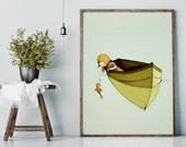 Sofi and the fish - Girl Art - Holli - Nursery Wall Art - Nursery Decor - Childrens Art - Kids Wall Art - Nursery Art