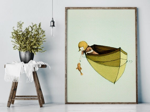 Sofi and the fish - Girl Art - Holli - Nursery Wall Art - Nursery Decor - Childrens Art - Kids Wall Art - Nursery Art