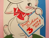 Vintage Unused Happy Birthday 3 Year Old Card for Child Bunny Rabbit