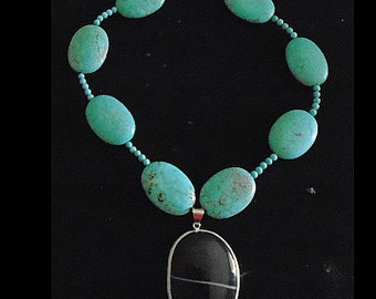 Turquoise and Onyx necklace, costume accessory, boho, statement, gypsy, festival jewelry