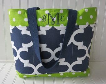 Teacher Bag - Teacher Tote Bag - Monogram Teacher Bag - Reversible Teacher Tote - Personalized Teacher Gifts