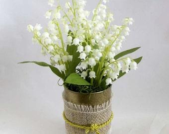 Summer Flower Arrangement, lily of the valley floral arrangement, gift for her,  home decor. bridal shower decorations