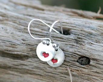 Little Red Heart Sterling Silver Hand Stamped Disc Earrings, Valentine's Day Jewelry, Heart, Love Earrings, Red Metal Stamped Hearts