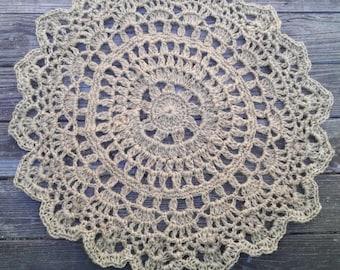 """Crochet Jute Doily Rug 32"""""""