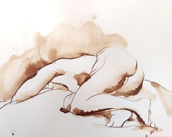 Figure Drawing - Reclining Female Nude - Ink on Paper -  by Michelle Arnold Paine