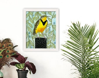 Meadowlark Bird Original Painting | Framed Art | Ready to Hang | Free Shipping