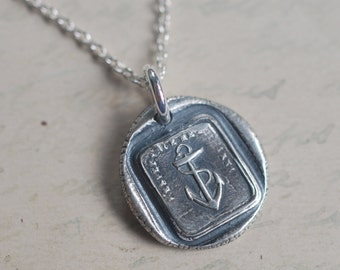 anchor wax seal necklace ... hope sustains me - silver French motto antique wax seal jewelry