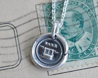 fare well wax seal necklace - bon voyage gift - fine silver Victorian trinket wax seal jewelry