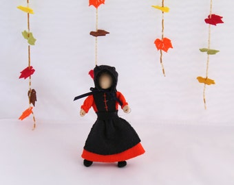 Felt Art Doll Hanging Ornament  Thanksgiving Pilgrim Girl Piksee  Holiday ornament