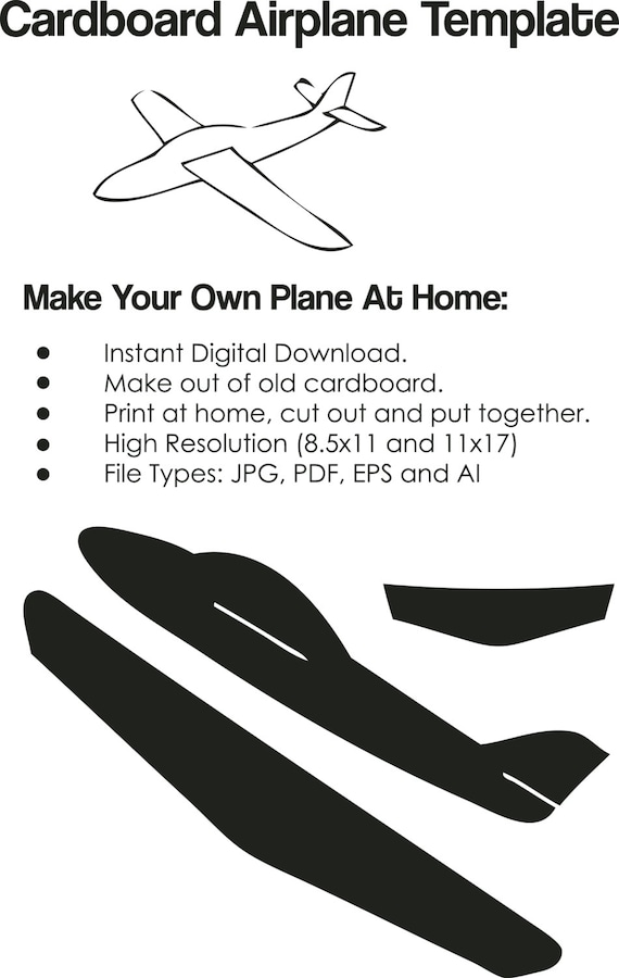 Cardboard airplane template airplane cutout on paper for Cut out airplane template