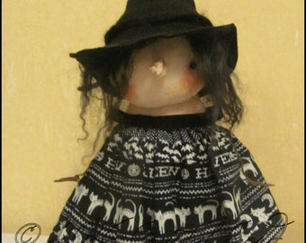 Halloween witch girl black and white spooky Doll Whimsical creepy cute country decor cottage chic Farm Quirky hafair ofg team