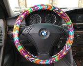 Custom Fun Multi Colored Chevron Steering Wheel Cover