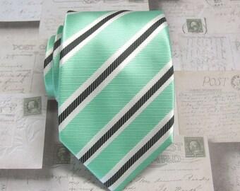 Mint Green Mens Tie. Mint Green Black White Stripes Mens Necktie