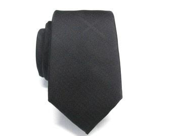Black Mens Ties. Narrow Ties. Black Plaid Mens Necktie with Matching Pocket Square Option. Wedding Ties.