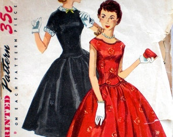 Vintage 1950s Party Dress Pattern Simplicity 1396 Bust 34 Rockabilly Detachable Collar & Cuffs