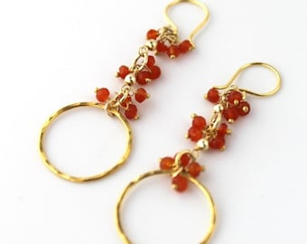 Carnelian Cluster Gold Circle Earrings