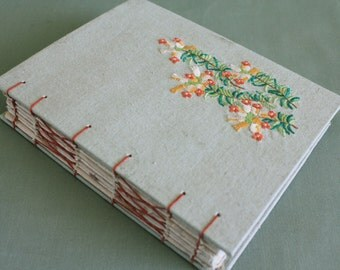 Tea Time Vintage Linen Hardcover Embroidered Journal 02 by PrairiePeasant
