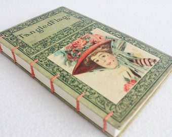 Old Book Journal / Recycled Book / Tangled Flags Rebound Journal by PrairiePeasant
