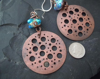Extra Large n Colorful. Handmade Copper and Dichroic Glass Dangle Earrings.  3.5in.  CE-17
