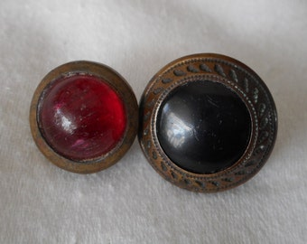2 ANTIQUE Glass in Metal Waistcoat BUTTONS