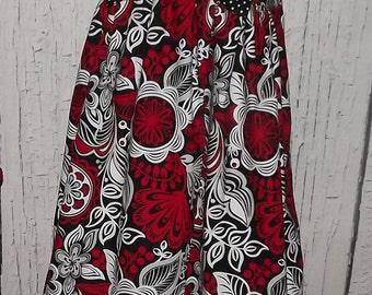 Sundress Red White Grey Black Floral Polka Dot Bow Size 6
