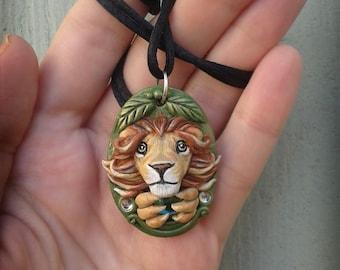 Lion Necklace Lion Jewelry Polymer Clay Jewelry Lion Pendant Leo Jewelry Animal Necklace Wizard of Oz Cowardly Lion Gift Idea