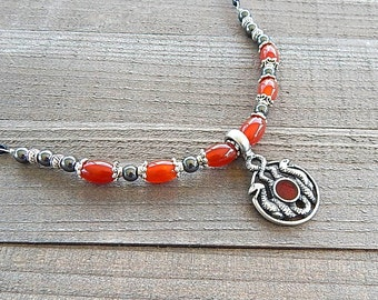 Silver Double Snake Necklace Medusa Medallion Silver Natural Carnelian Gemstone Coin Style Pendant With Leather Cord