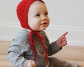 Hand knit heirloom baby bonnet, valentine, love, red