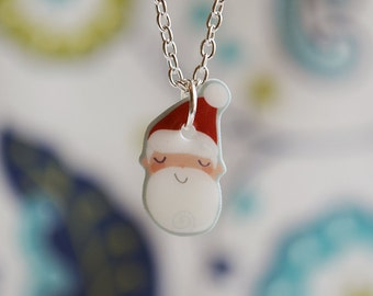 Santa Claus necklace, cute Christmas jewelry