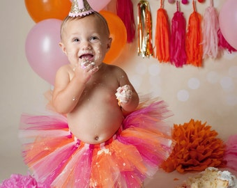 First Birthday Outfit Girl Tutu, Cake Smash Outfit Girl Tutu, 1st Birthday Outfit, 1st Birthday Tutu Skirt, Tulle Skirt, SEWN Tutu Gift