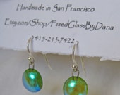 Handmade fused glass and sterling silver earrings