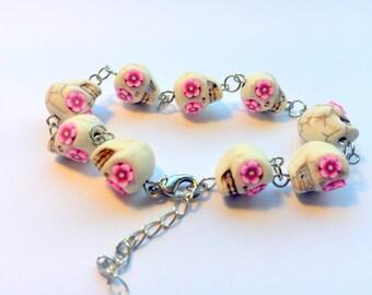 Day of the Dead Sugar Skull Adjustable Chain Bracelet Pink Flower Eyes