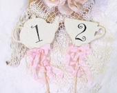 Tea Party Centerpiece Picks Table Numbers with Ribbons - Set of 4 - Alice Bridal Shower Mad Tea Party Teapot Teacup Floral Picks