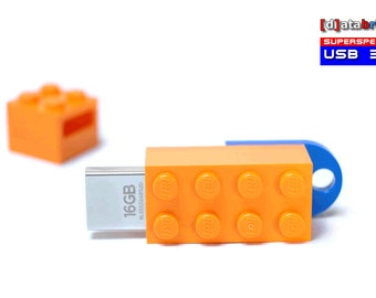16GB to 64GB USB 3.0 Flash Drive in a orginal Lego® 2x4 Brick many available Colours