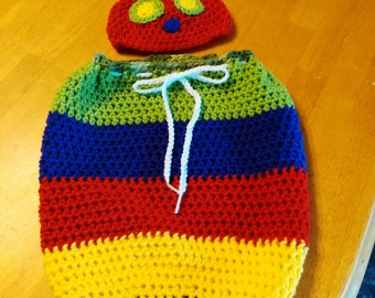 Crocheted Catapillar  cocoon and Hat