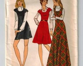 Vintage 70s Sewing Pattern Misses Jumper Mini Maxi Knee Length Sz 10 Bust 32.5 Bias Flared Retro Jumper U Neckline Cap Sleeves or Sleeveless