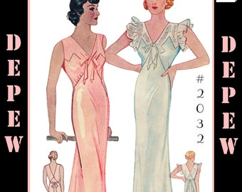 Vintage Sewing Pattern Reproduction 1930's Ladies' Nightgown #2032 - INSTANT DOWNLOAD