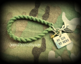 BRACELET My Son My Hero boot band blouser bracelet SSG148 Army Navy marines air force coast  national guard usmc military