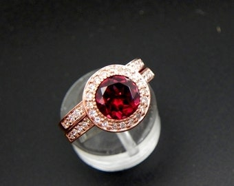 AAAA Rhodolite Garnet 7mm  1.80 Carat in 14K Rose gold bridal set with .35cts of diamonds. B007 1465
