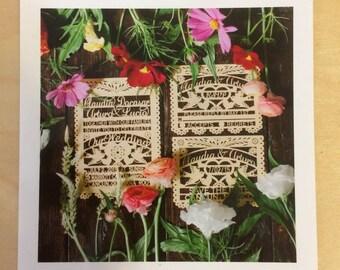 Laser cut (RUSH - 60 invitations with CUSTOM DONKEY design) Wedding Love Bird Papel Picado Inspired Wedding 5x7 card Rehearsal Engagement