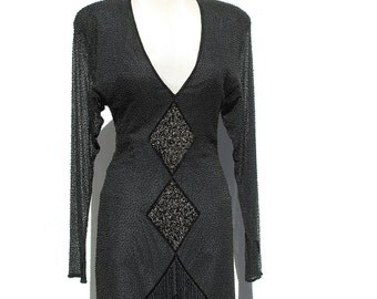 Vintage Silk Long Sleeve Beaded Fringe Evening Dress