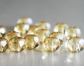 25 Champagne Faceted Rondelles 6x8mm - Czech Glass Beads