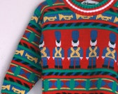 Vintage boys sweater holiday soldiers 3t 4t christmas