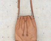 vintage c. 1980s Coach distressed nude leather drawstring bucket bag
