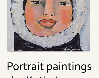 Acrylic Portrait Painting - White Winter Hat - Girl Face - Mixed Media Collage Art