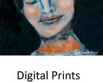 Digital Print. Woman Portrait Painting. Romantic Spiritual Art. Gift For Her. Home Wall Decor.