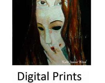 Woman Masquerade Mask Painting Print. Print Wall Art. Living Room Wall Decor. Halloween Gothic Print. Fall Wall Art Prints.