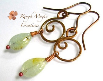 Aquamarine Earrings with Rustic Copper Swirls. Gemstone Teardrop Briolettes. Hand Forged Metal. Primitive Metalwork. Long Boho Dangles