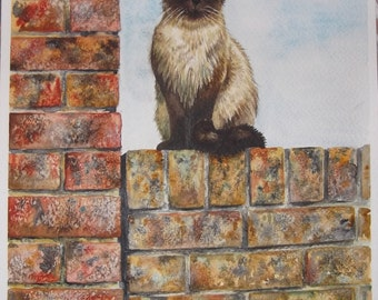 Original Painting - Cat On The Wall